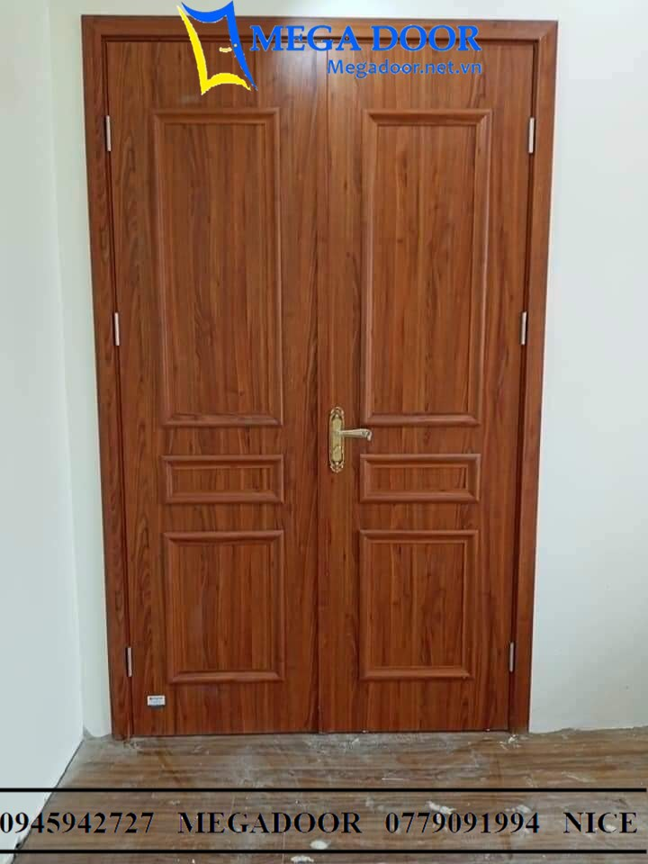 Cửa Nhựa Composite mẫu Tân Cổ Điển dòng sơn vân gỗ